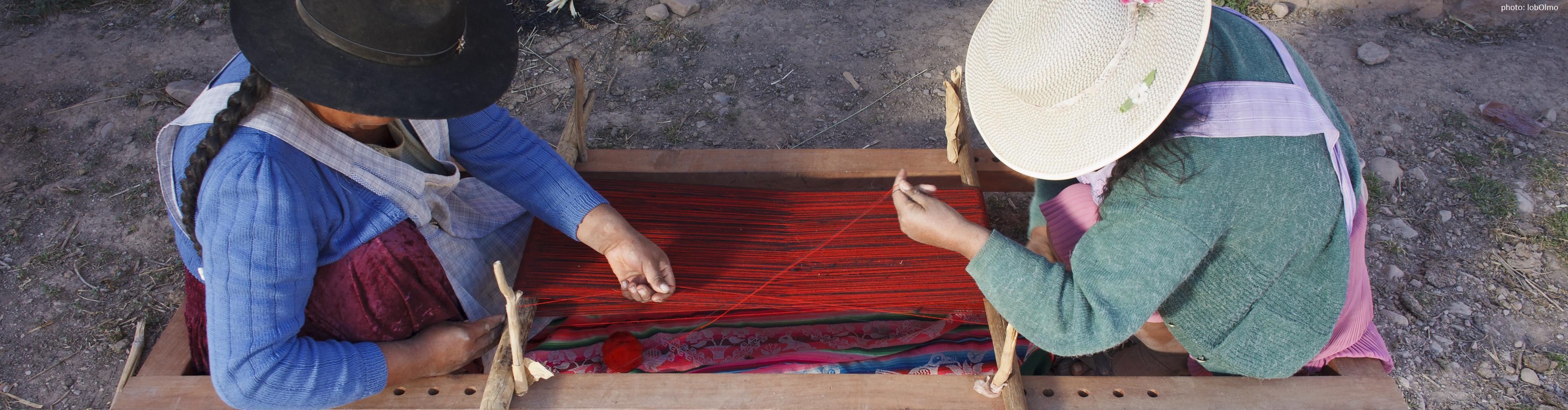 Spannen der Kettfäden, Potolo, Bolivien (Inca Pallay)